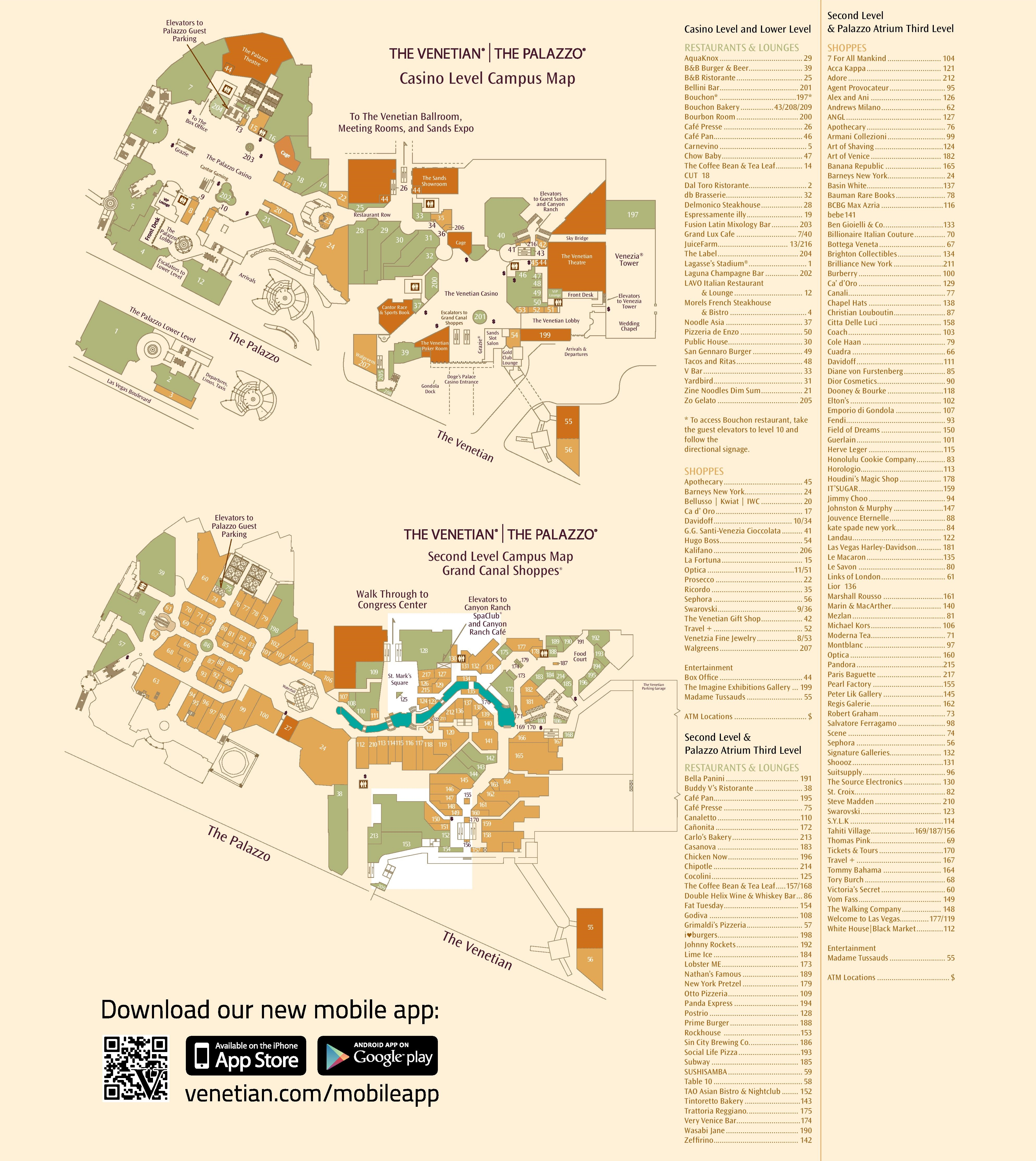 Venetian Las Vegas Map Las Vegas Venetian and Palazzo hotel map