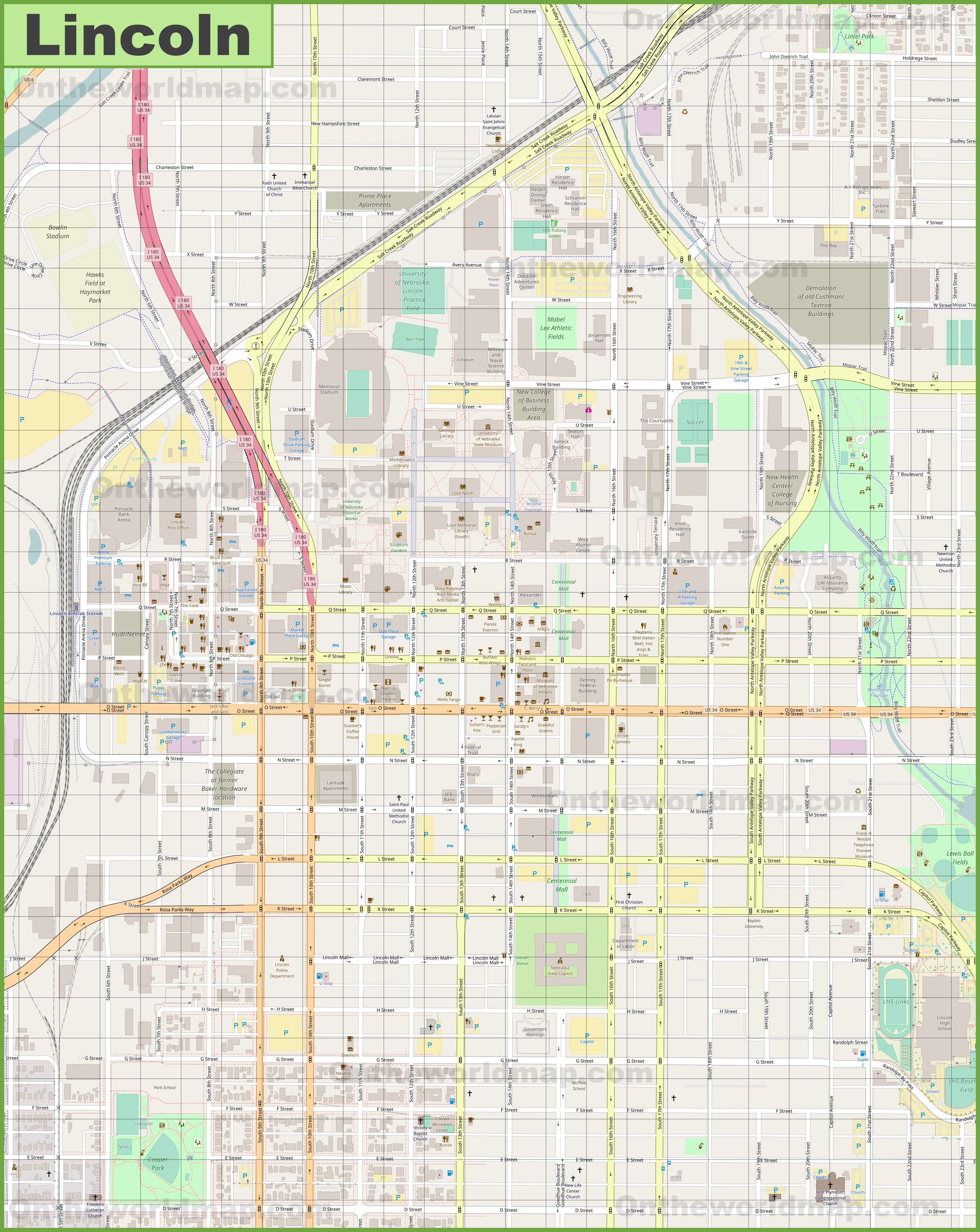 Lincoln downtown map