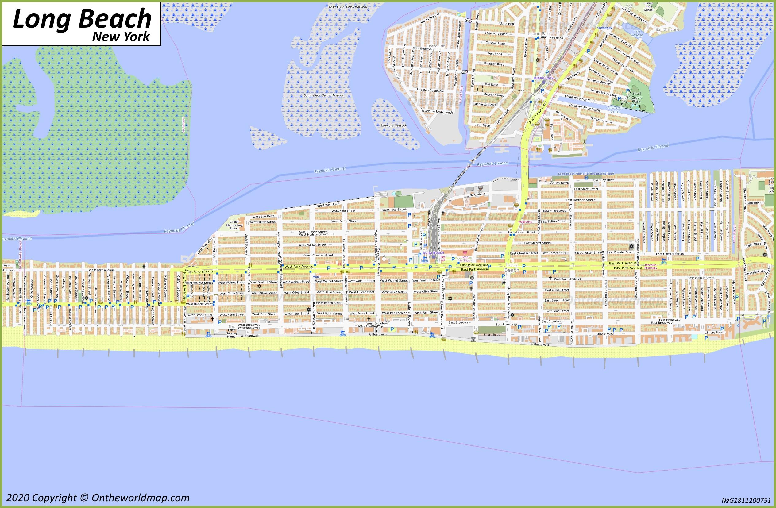 long beach map   new york, u.s.   maps of long beach