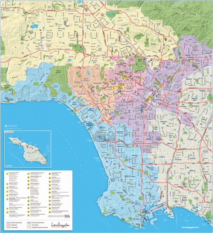Large detailed tourist map of Los Angeles