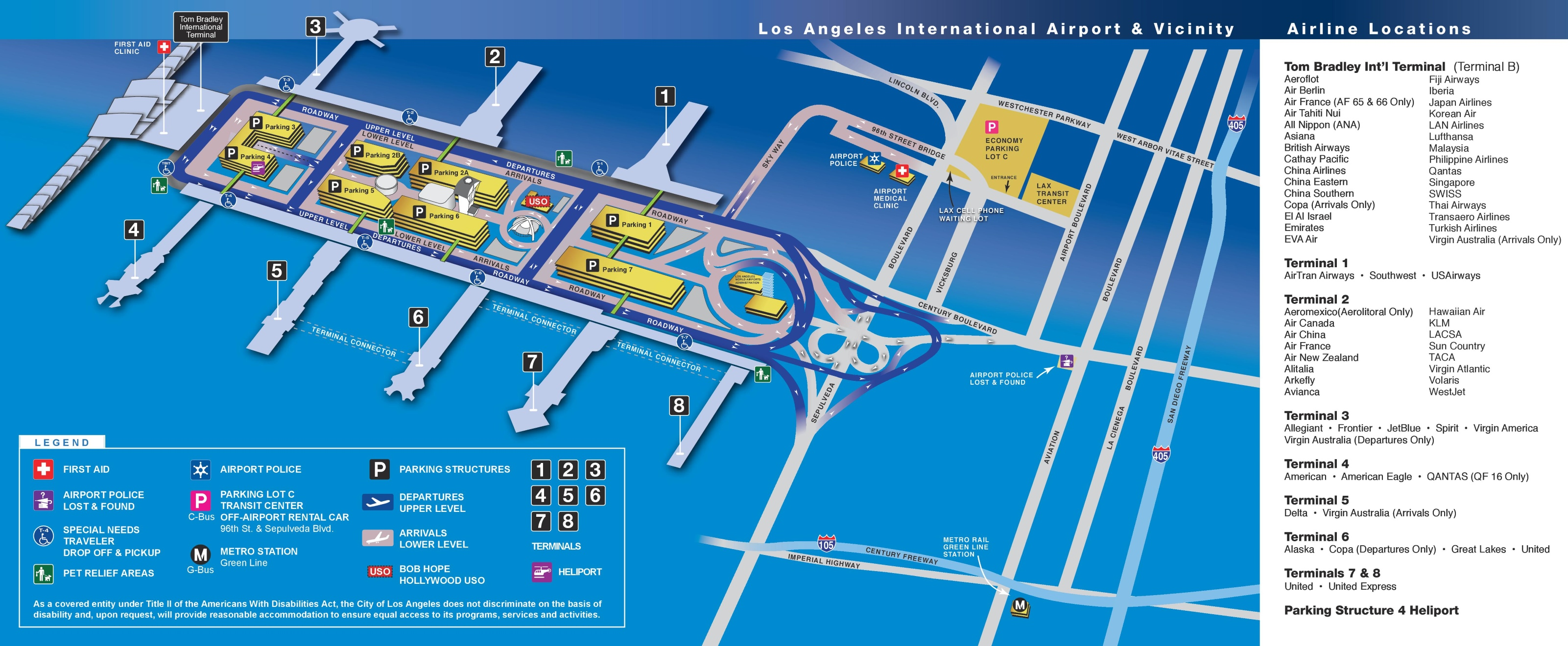 Los Angeles Airport Map - Los angeles in map