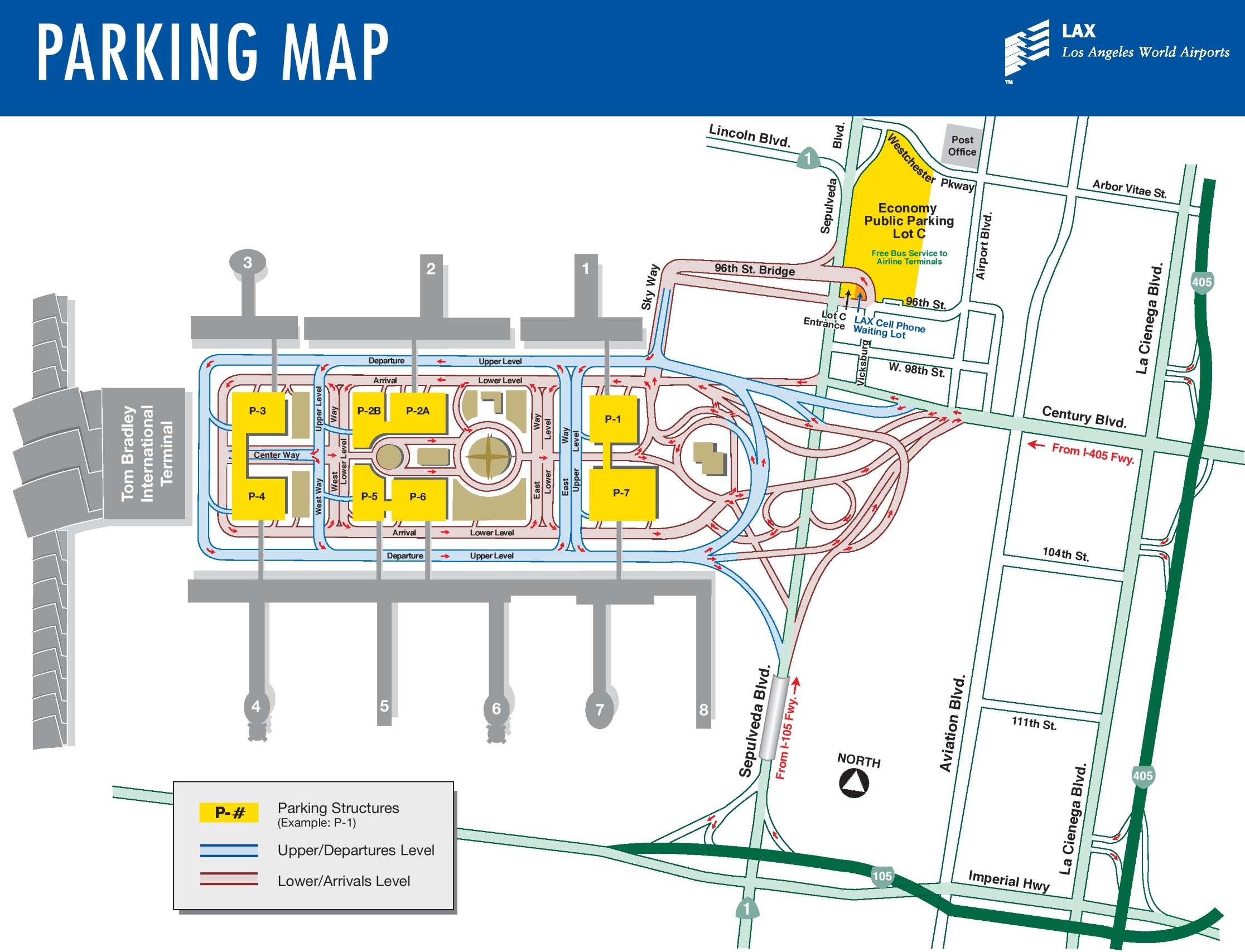 Los Angeles Airport Parking Map - Los angeles in map