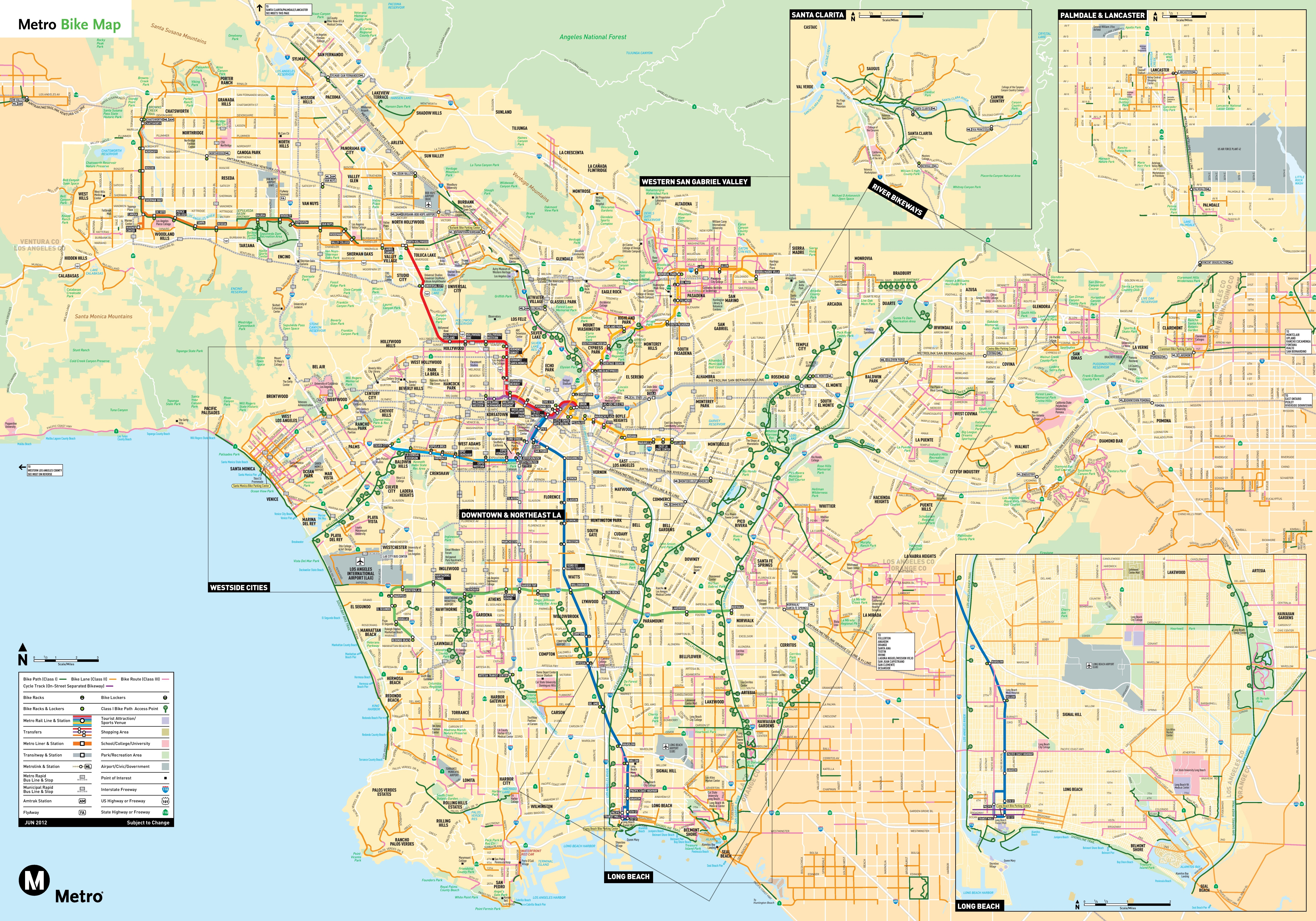 Los Angeles Bike Map - Los angeles in world map