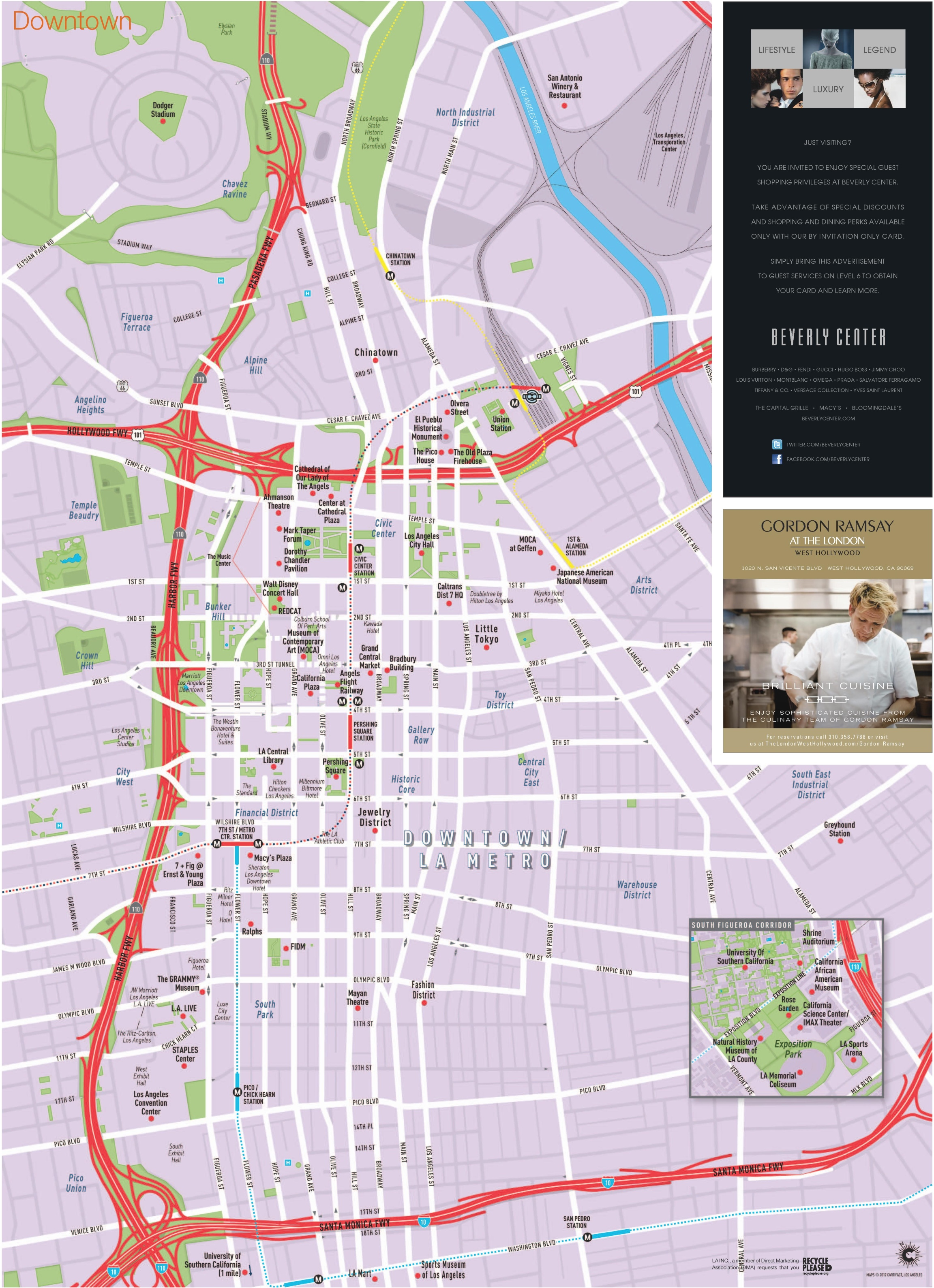 Los Angeles Downtown Tourist Map - Us-map-la