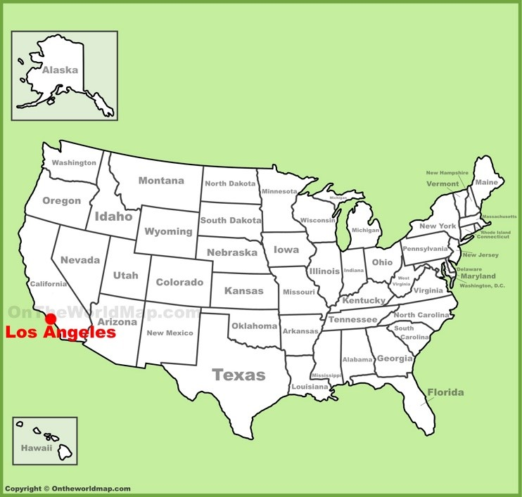 Los Angeles location on the U.S. Map