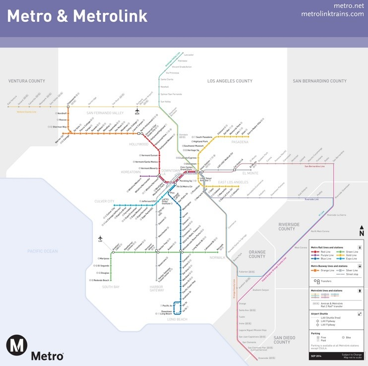 Los Angeles metro and metrolink map