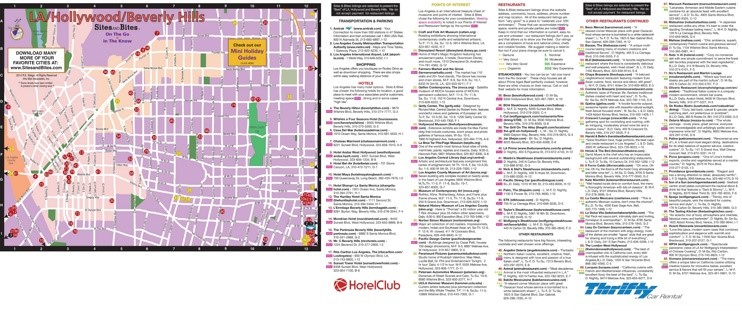 Map of hotels, restaurants and sightseeing in Hollywood and Beverly Hills