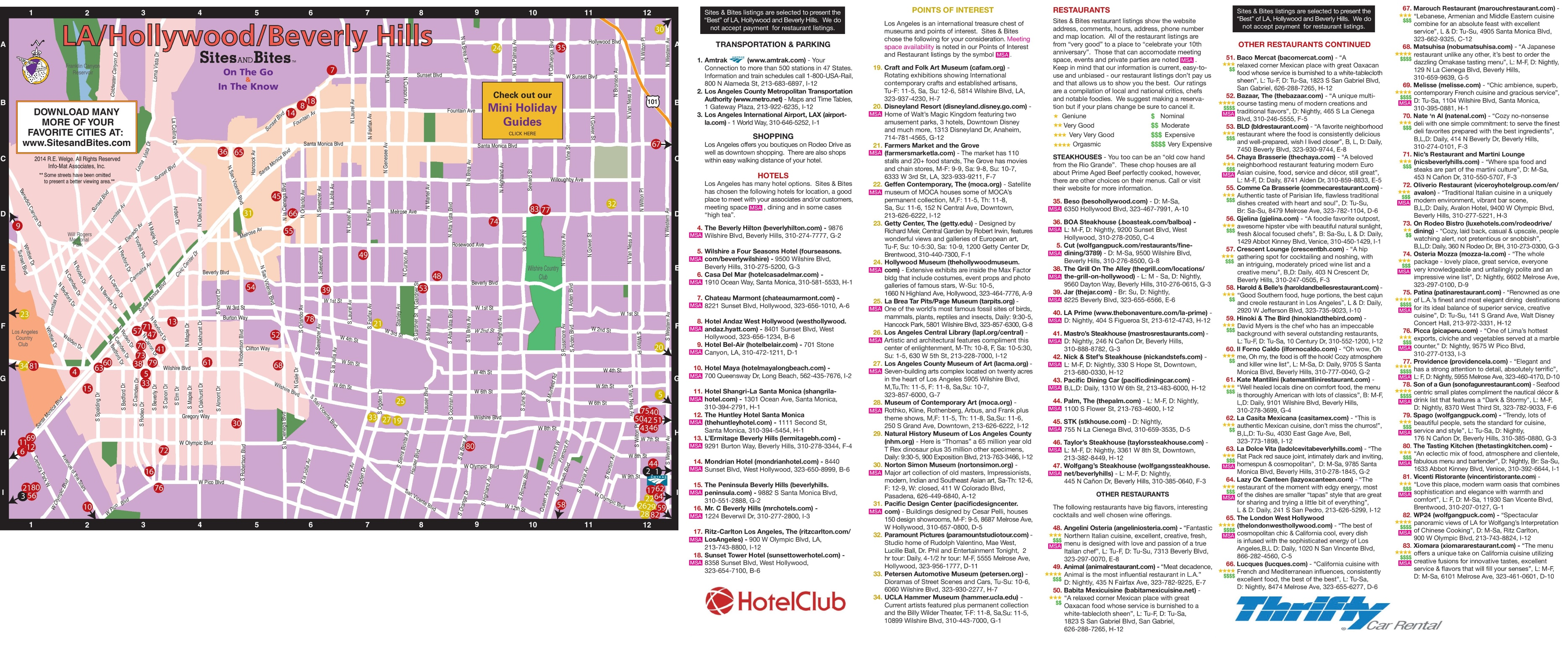 Map of hotels restaurants and sightseeing in Hollywood and Beverly