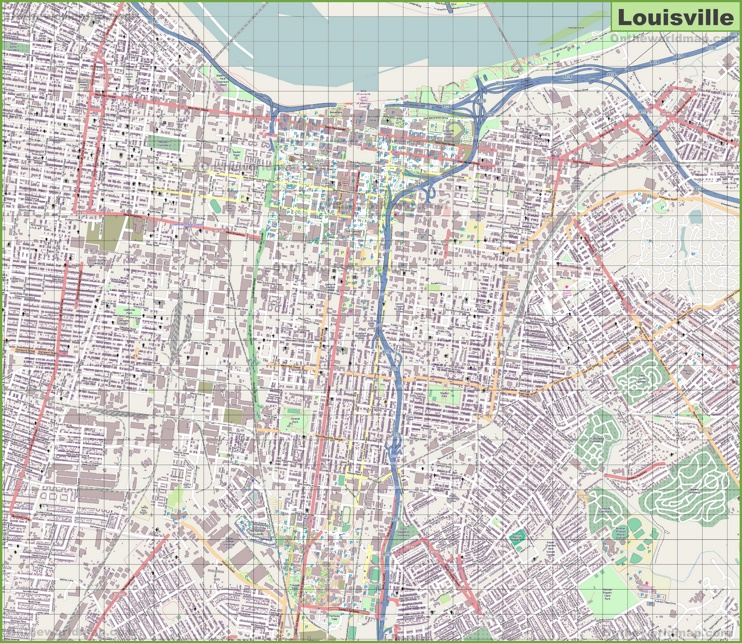 Large detailed map of Louisville