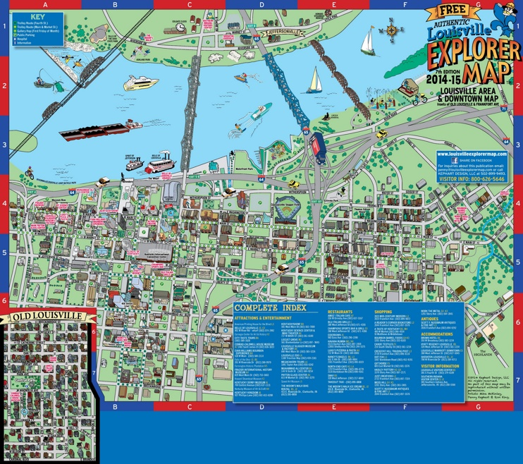 Louisville downtown map