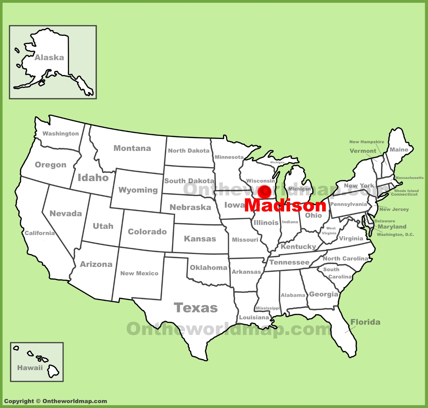 Madison location on the US Map
