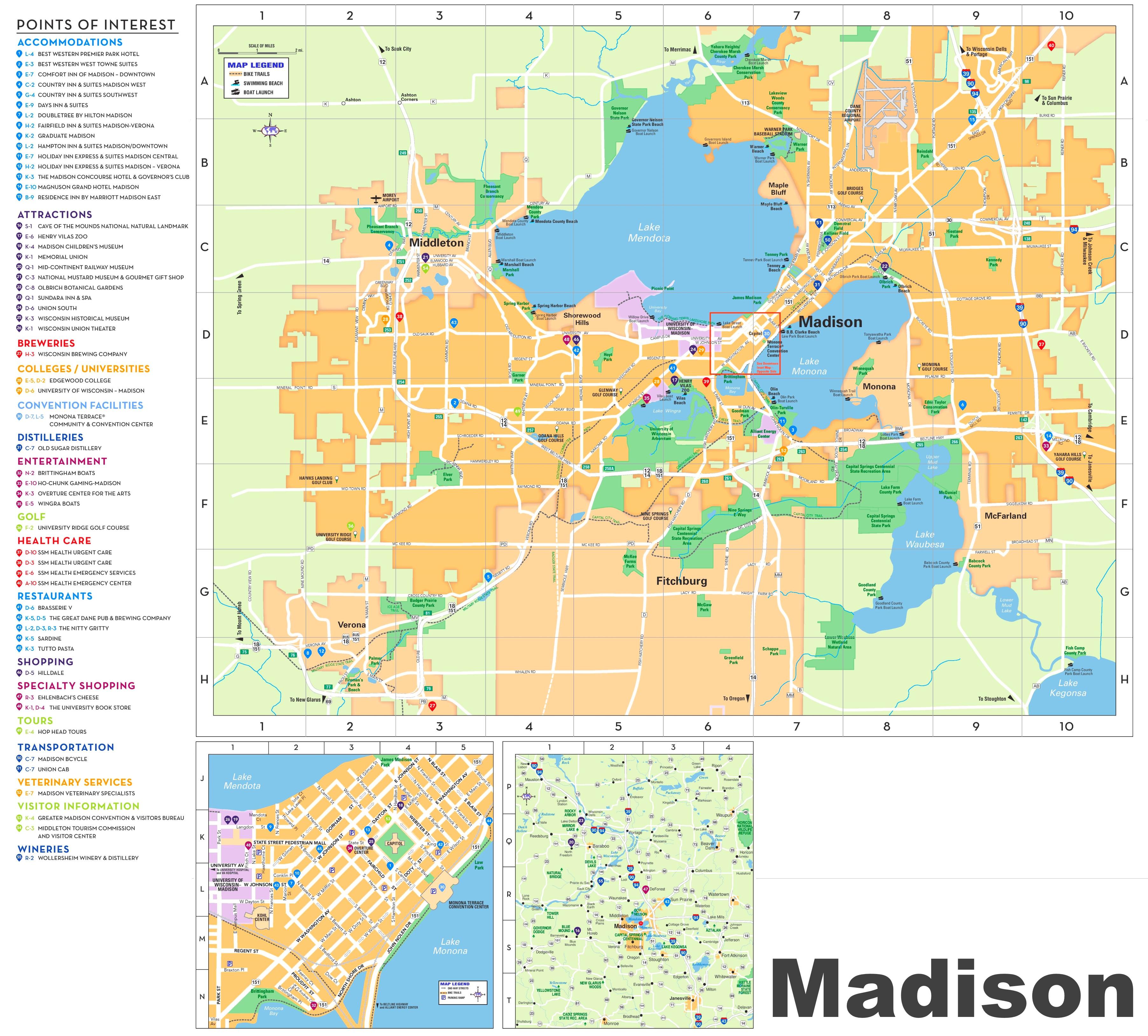 Madison tourist map