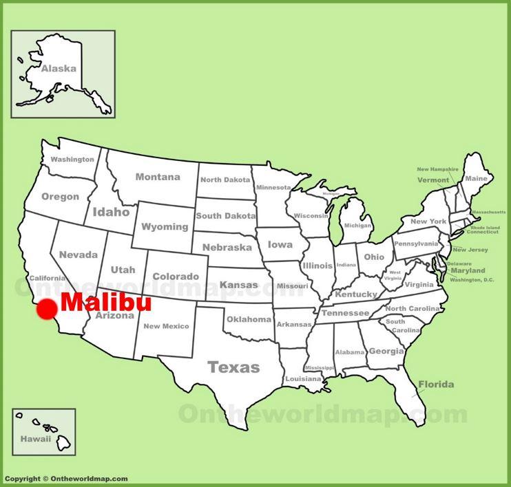 Malibu location on the U.S. Map