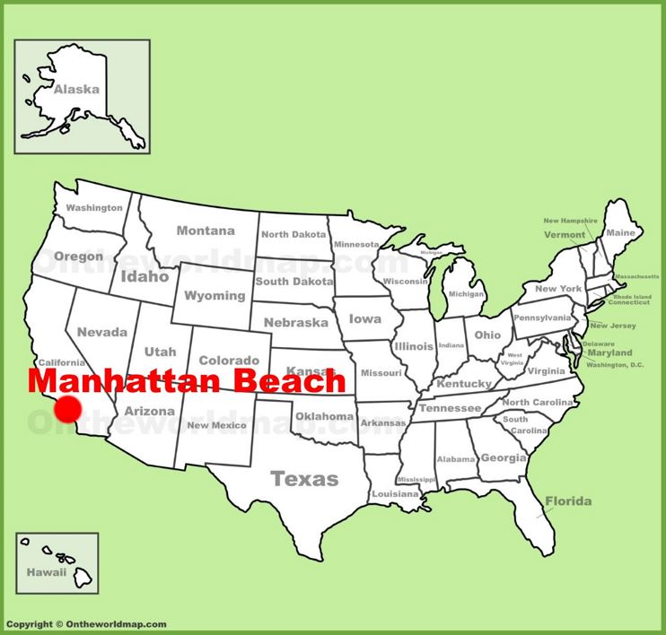 Manhattan Beach location on the U.S. Map