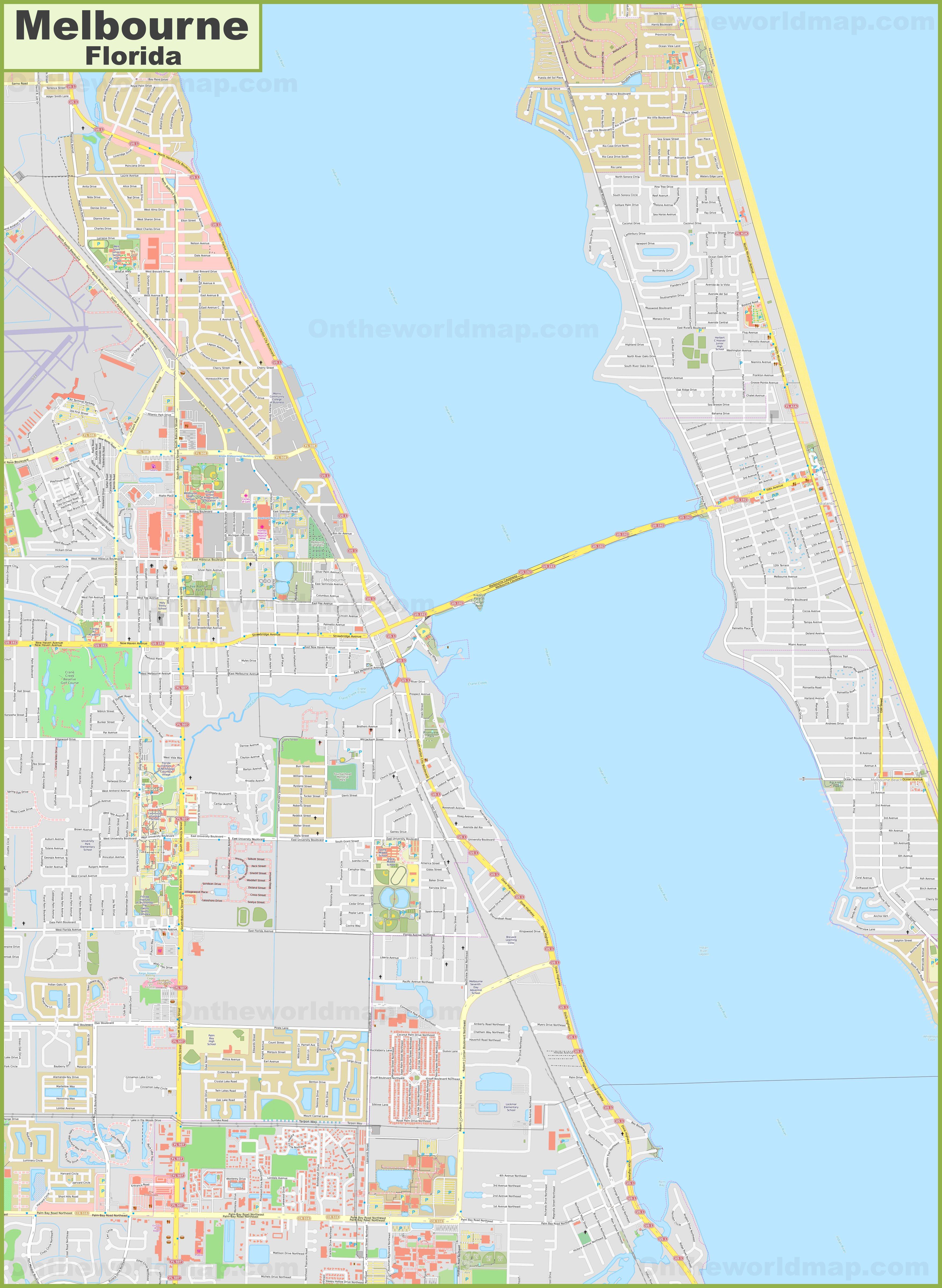 Map Of Florida Melbourne.Large Detailed Map Of Melbourne Florida
