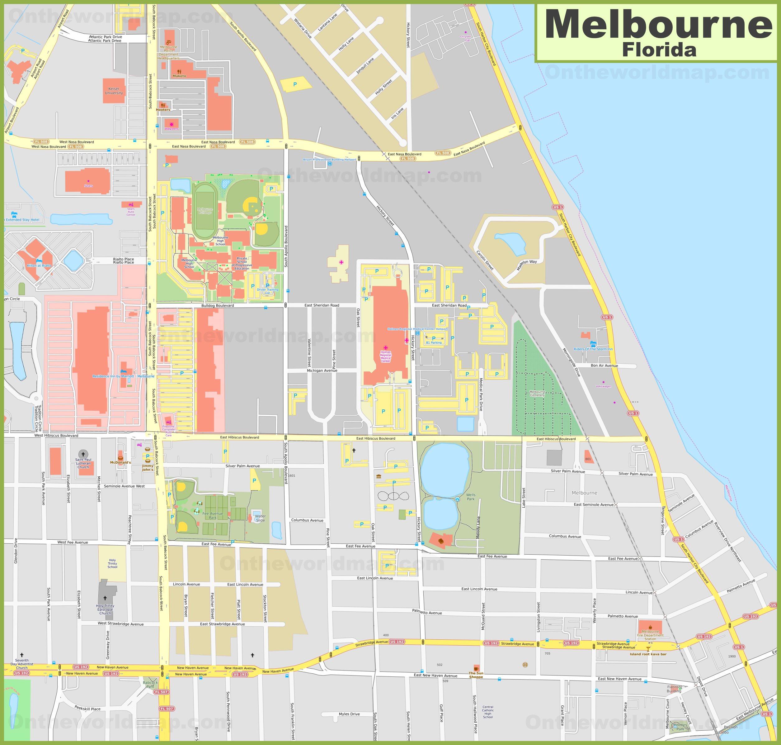 Melbourne City Center Map Florida