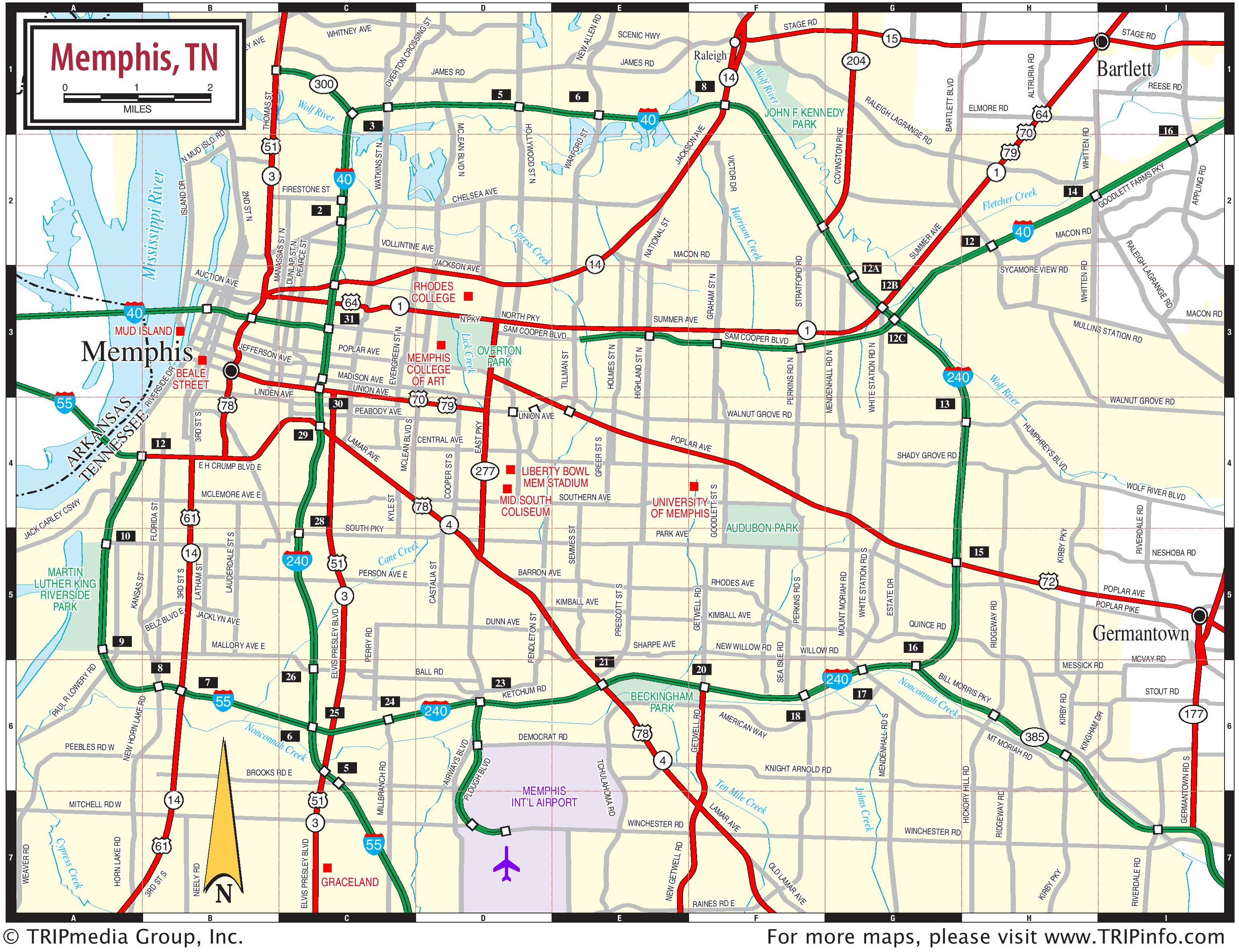 Map Of Memphis Tennessee Memphis area road map