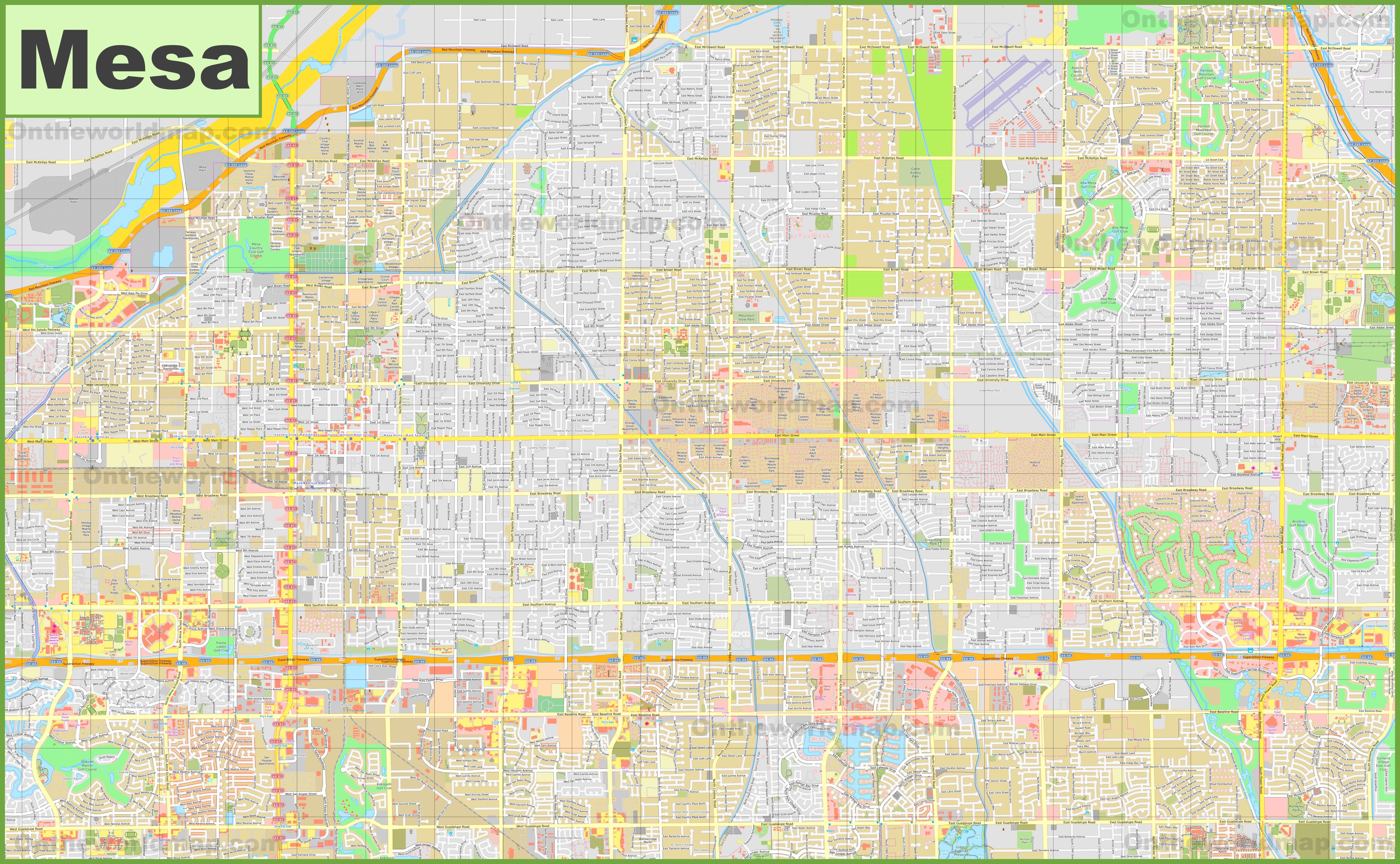 Large detailed map of Mesa
