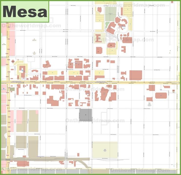 Mesa downtown map