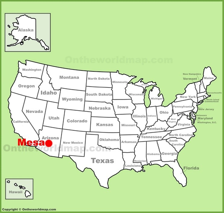 Mesa location on the U.S. Map