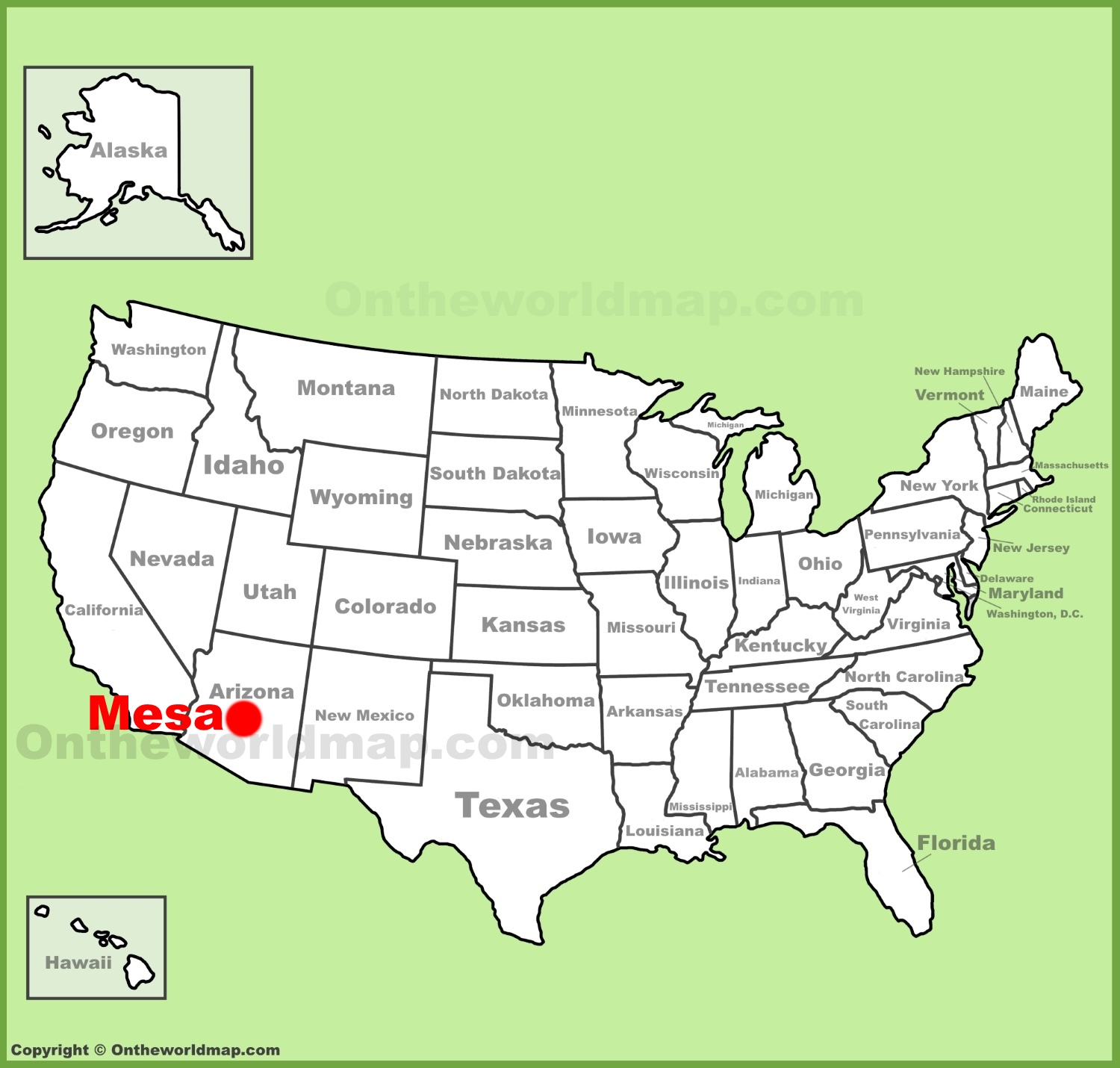 Mesa location on the US Map