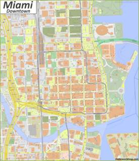 Detailed Map of Miami Downtown