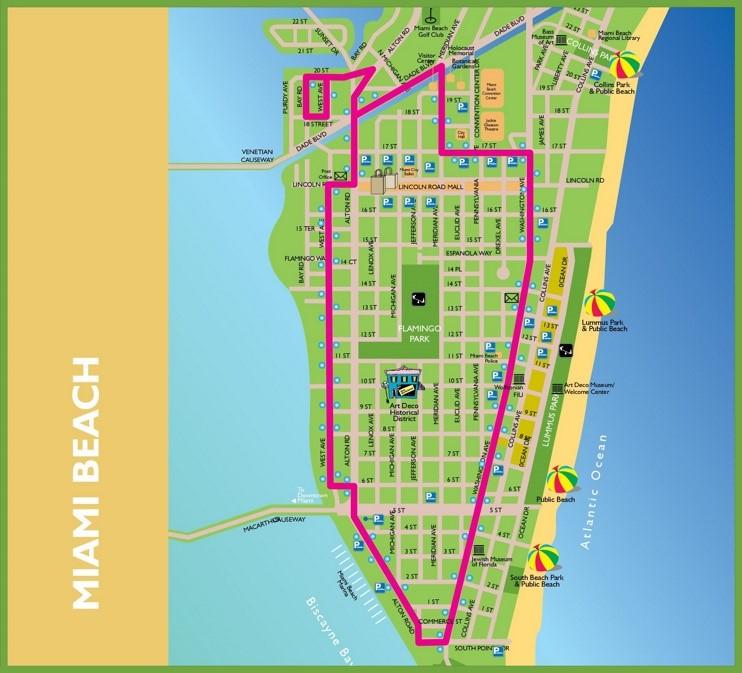 miami beach tourist map