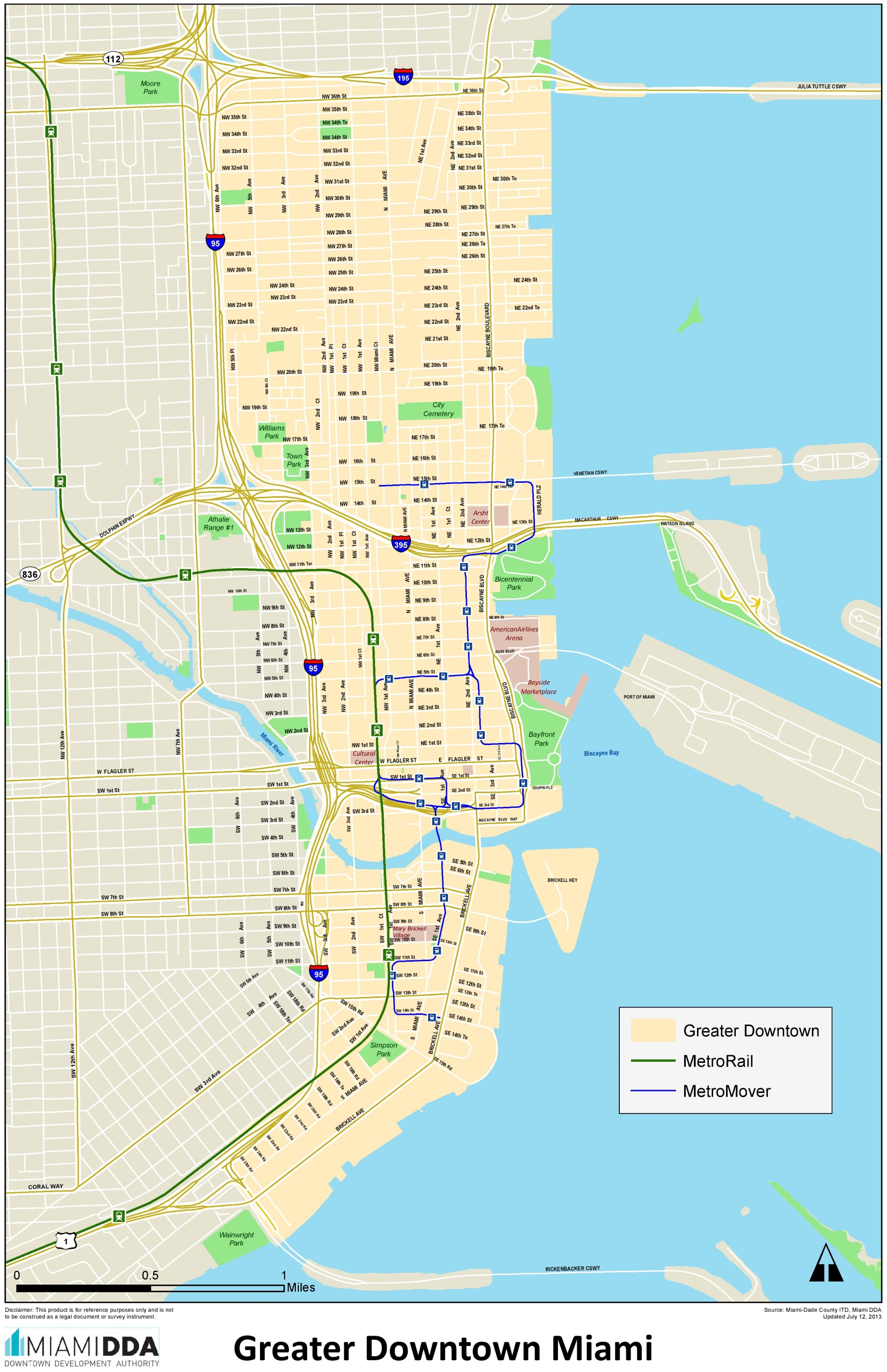 Miami Downtown Map on Atlanta And Surrounding Area Map
