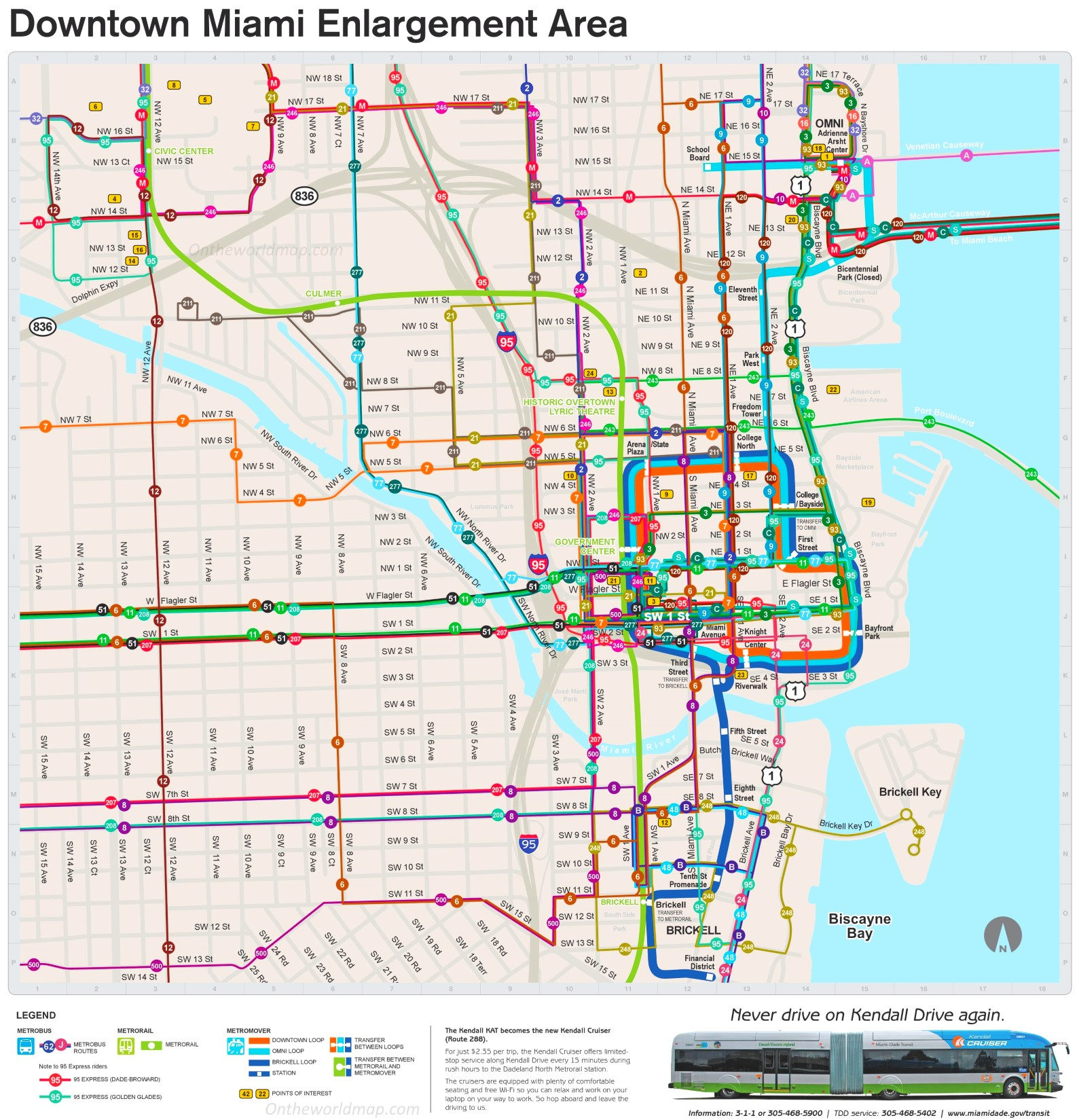 Miami downtown transport map on