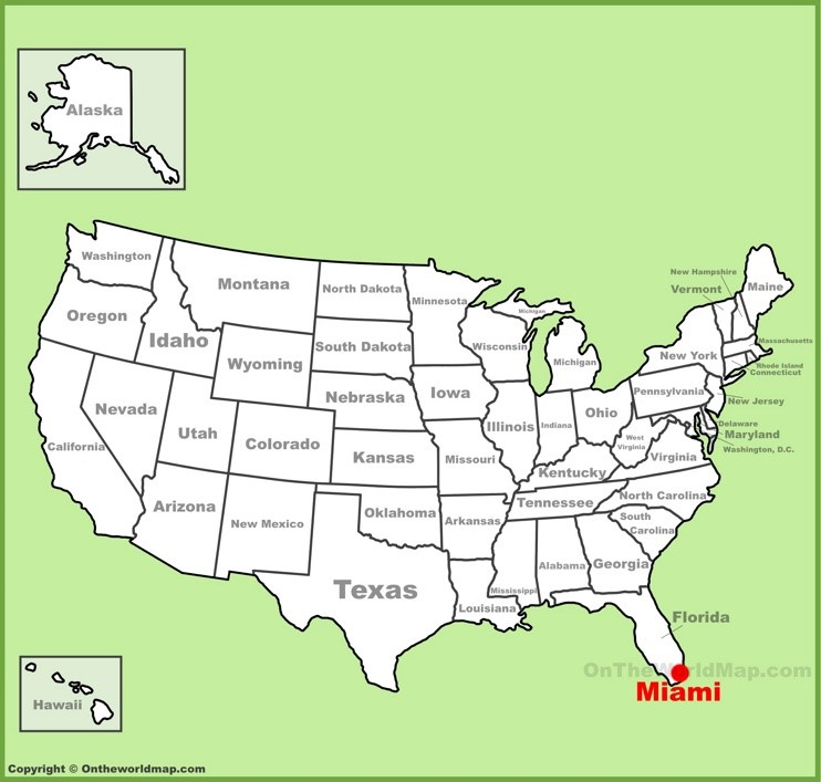 Miami location on the U.S. Map