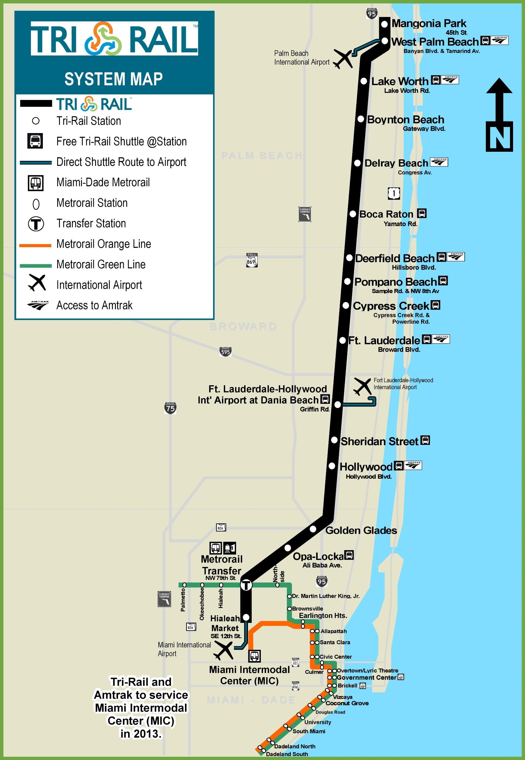 Miami TriRail map