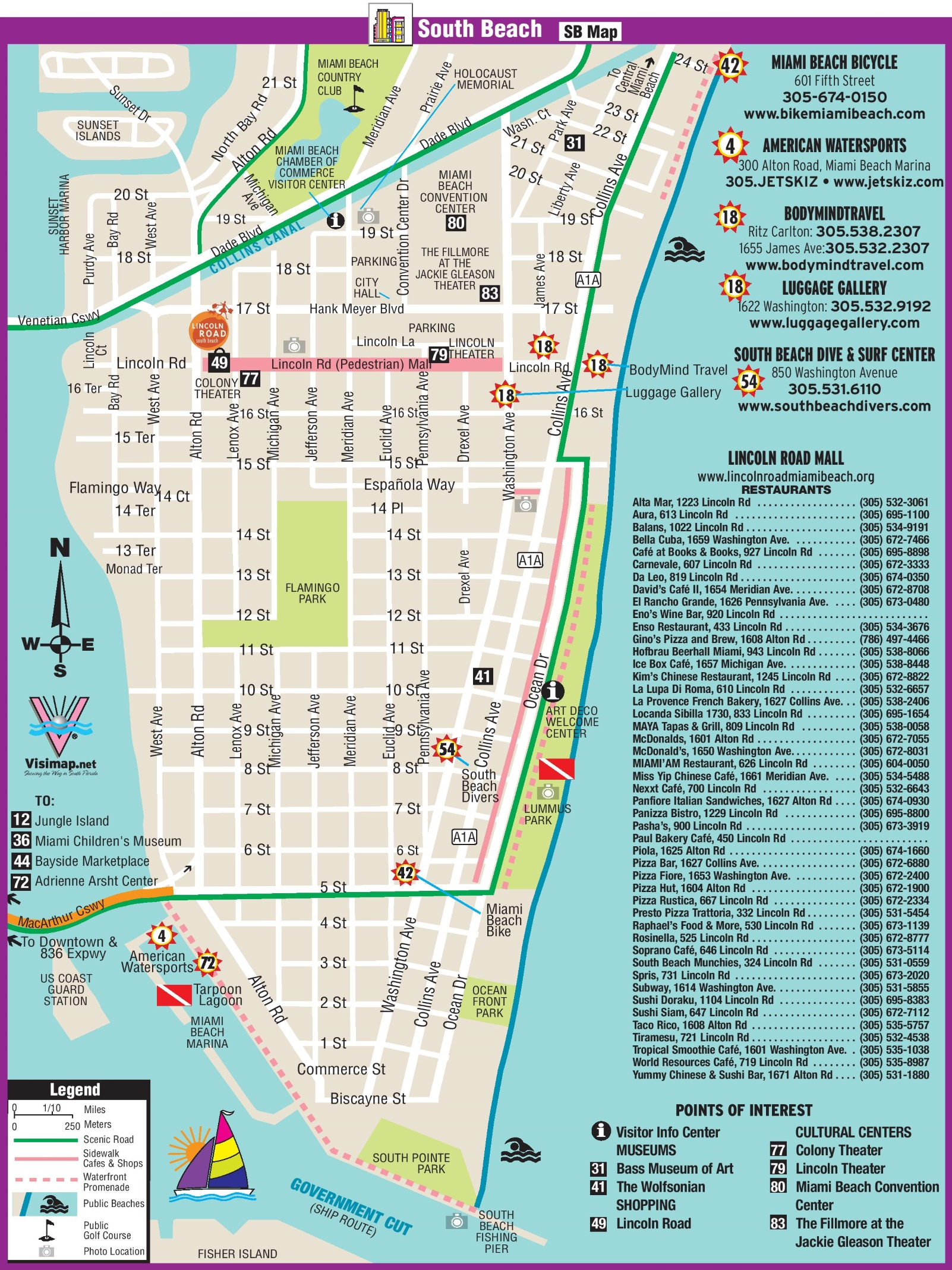 . south beach restaurant and sightseeing map