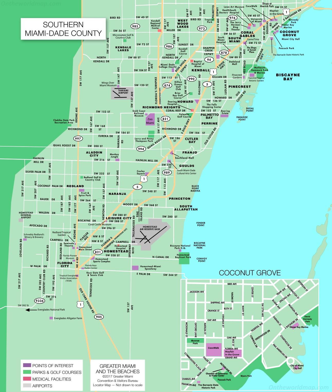 southern miami dade map