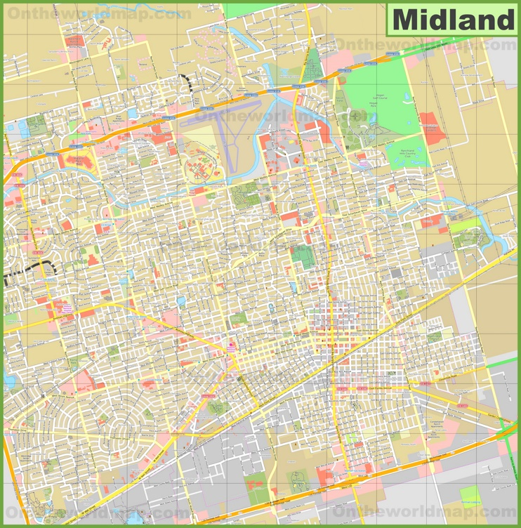 Large detailed map of Midland