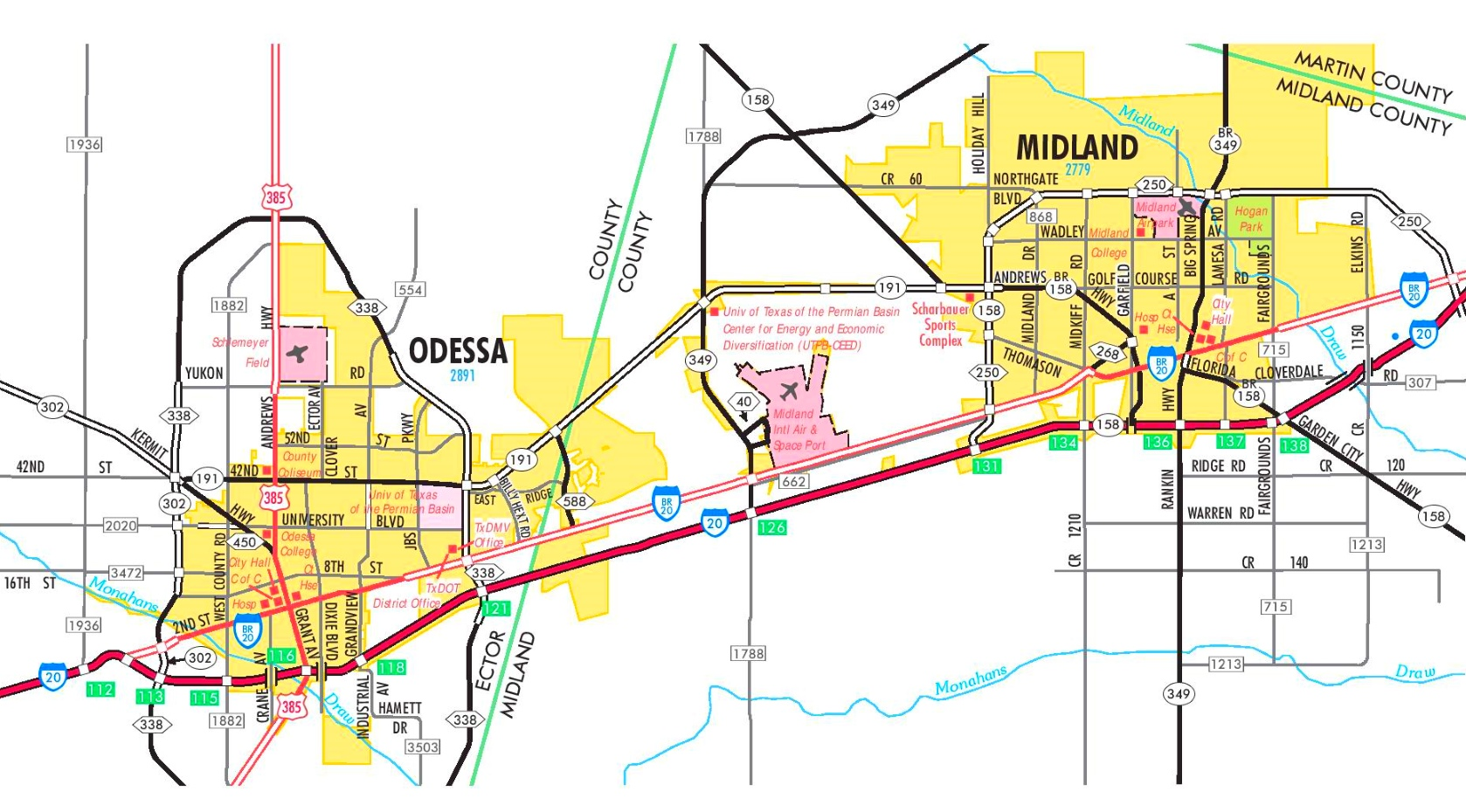 Midland and Odessa road map