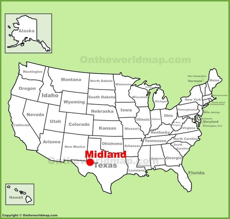 Midland location on the U.S. Map
