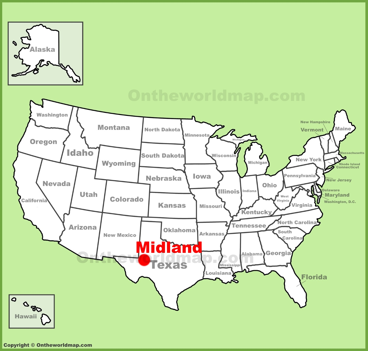 Map Of Midlands Midland location on the U.S. Map