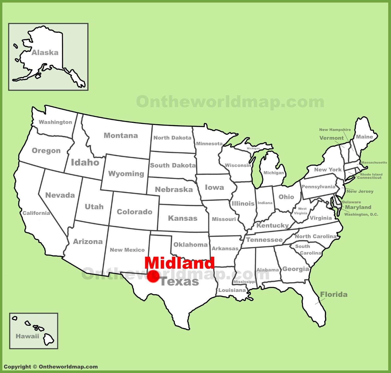 Midland location on the US Map