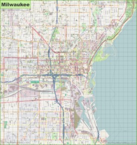 Large detailed map of Milwaukee