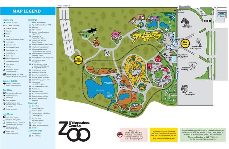 Milwaukee Zoo map