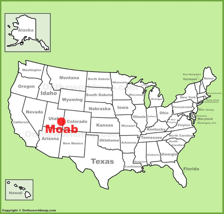 Moab location on the U.S. Map