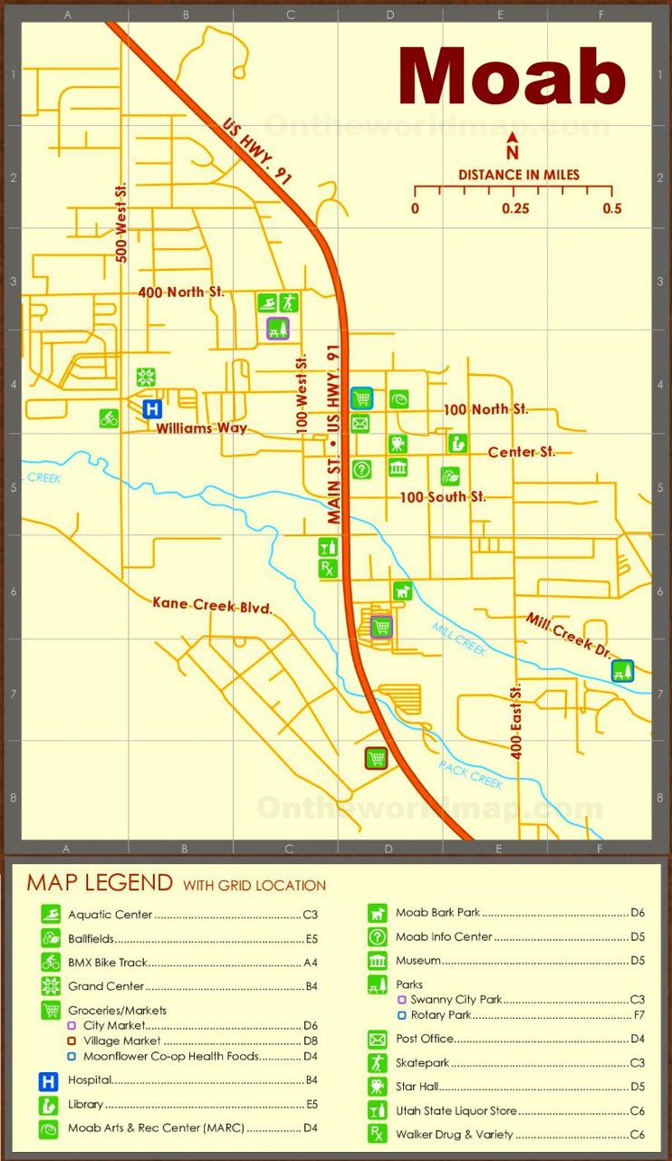 Moab tourist map