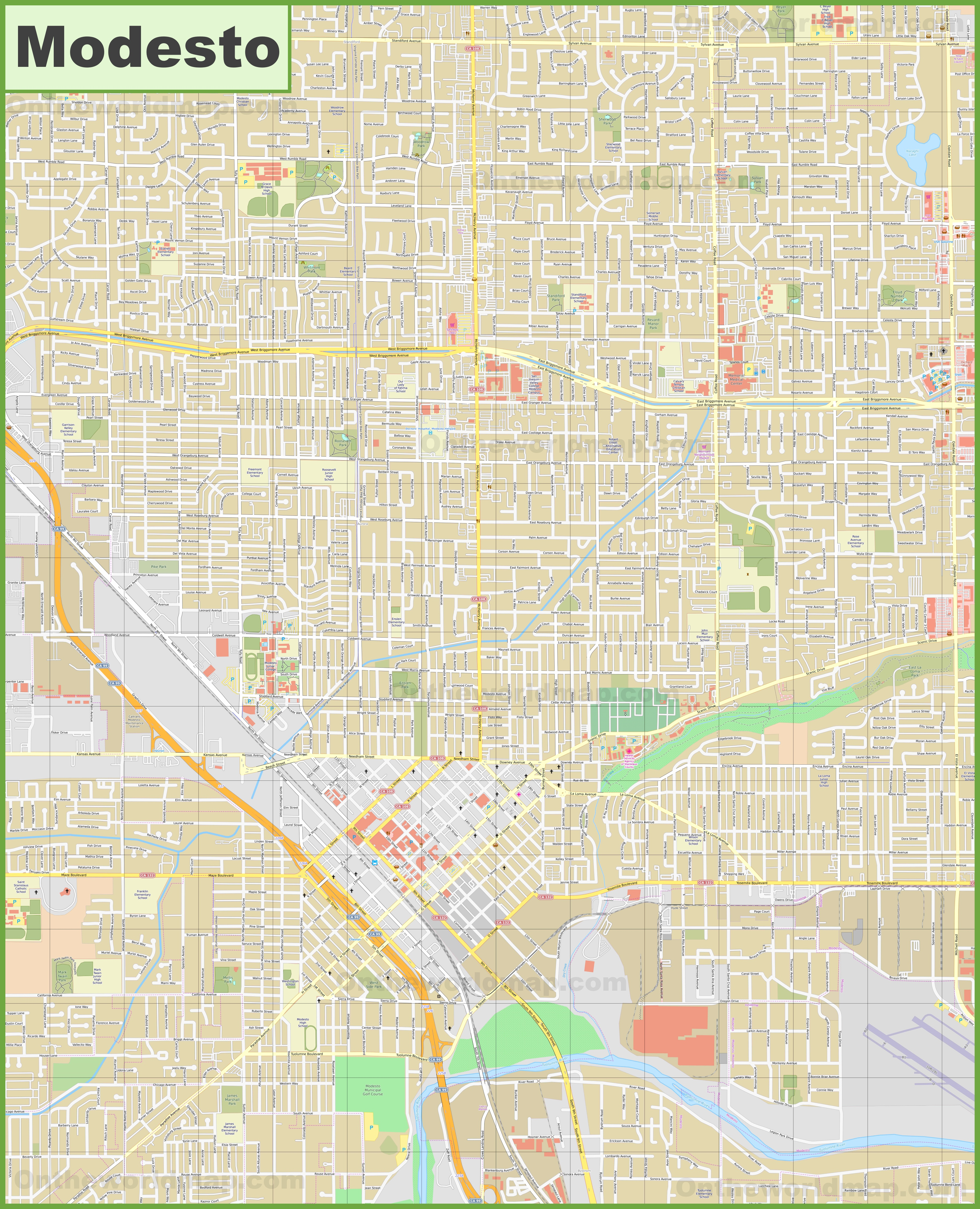 Large detailed map of Modesto