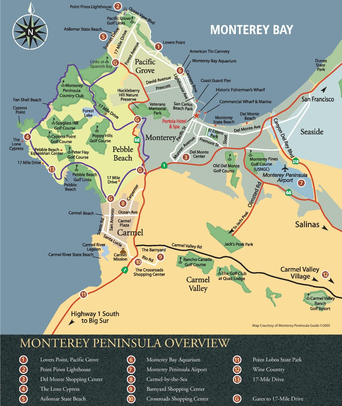 Monterey area tourist map on