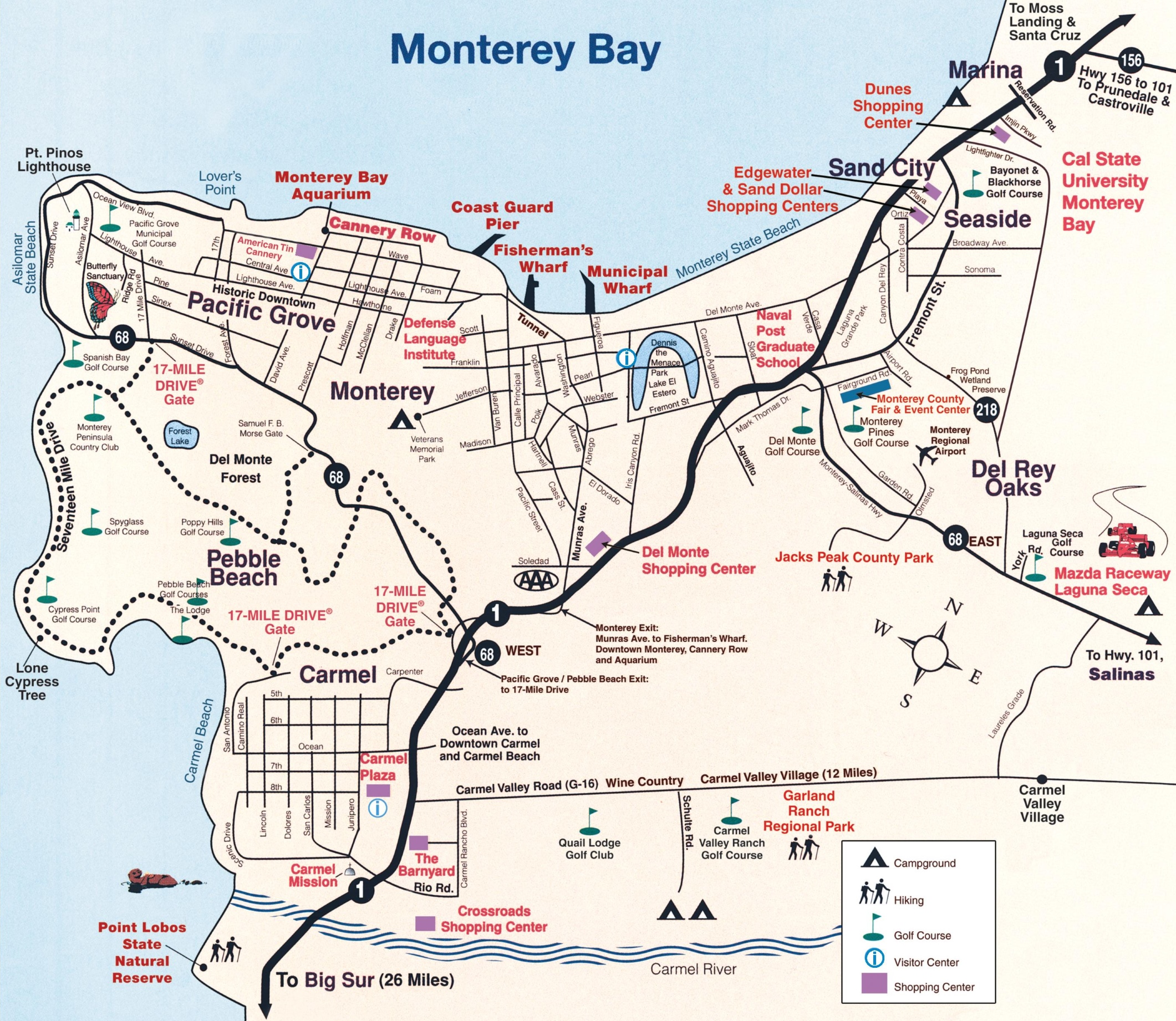Monterey Peninsula map on