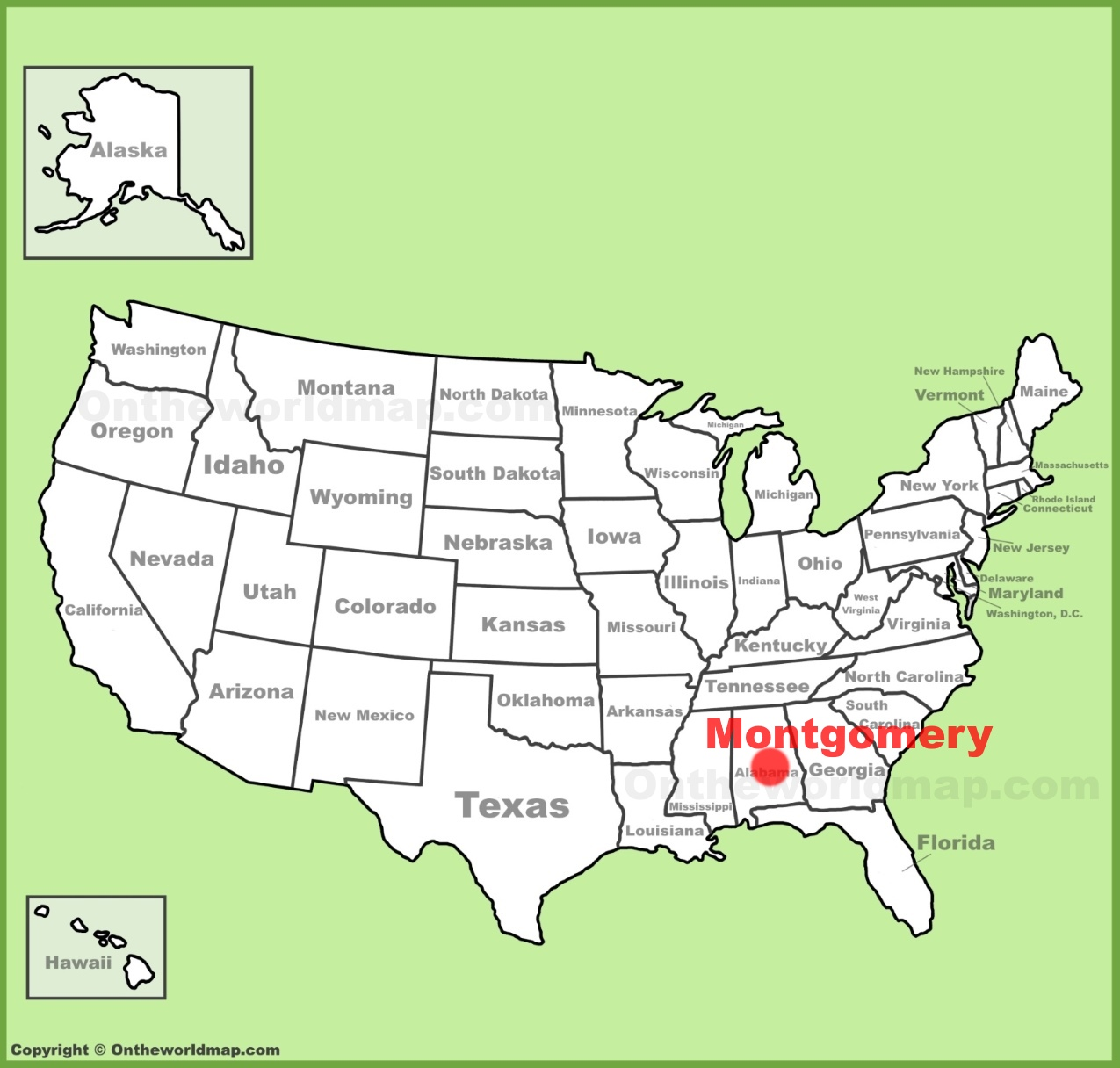 Montgomery location on the US Map