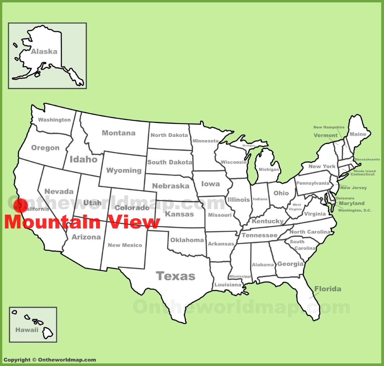 Mountain View location on the US Map