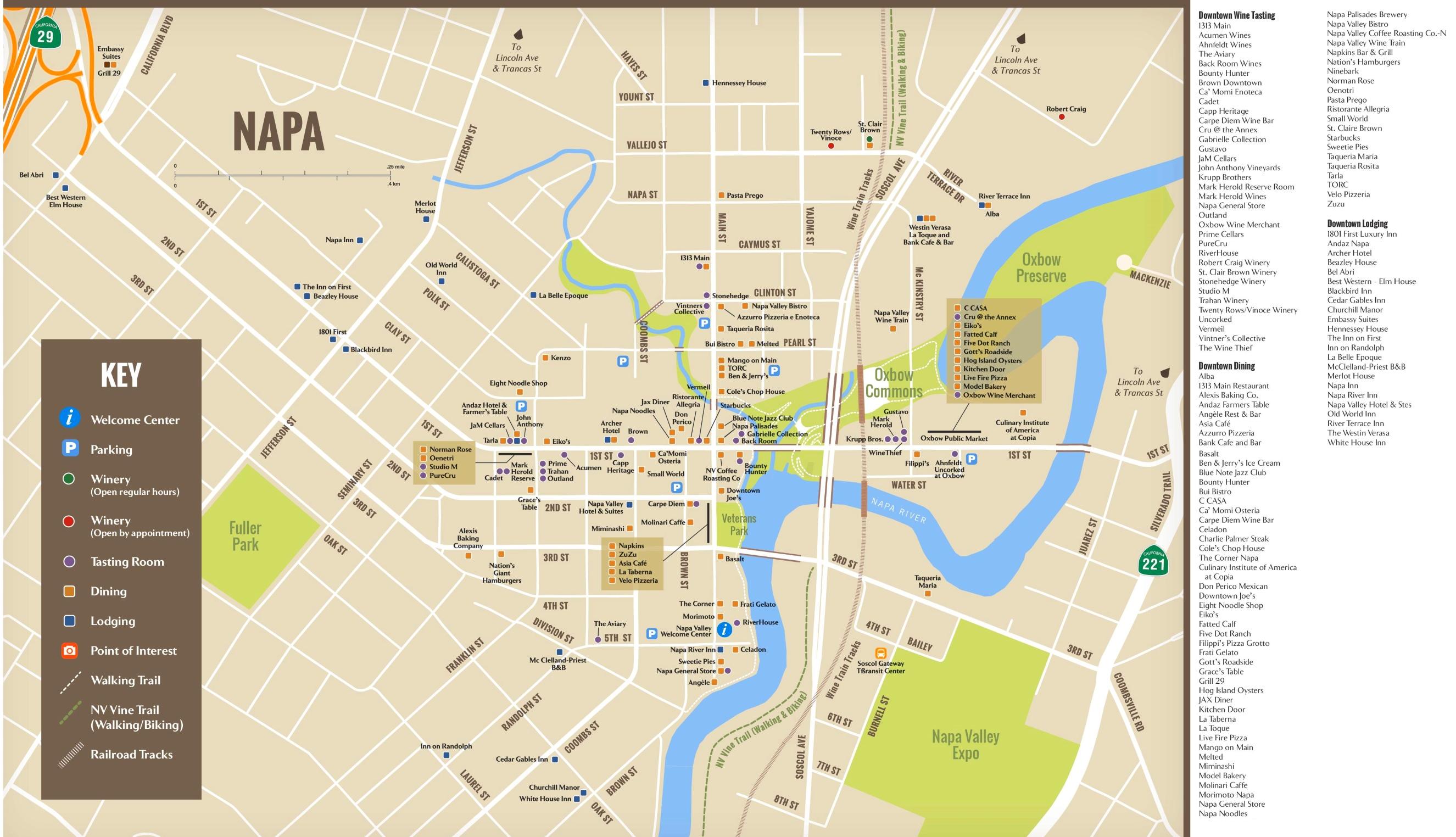 City Of Napa Hotels And Dining Map - Map of napa hotels