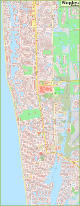 Large detailed map of Naples