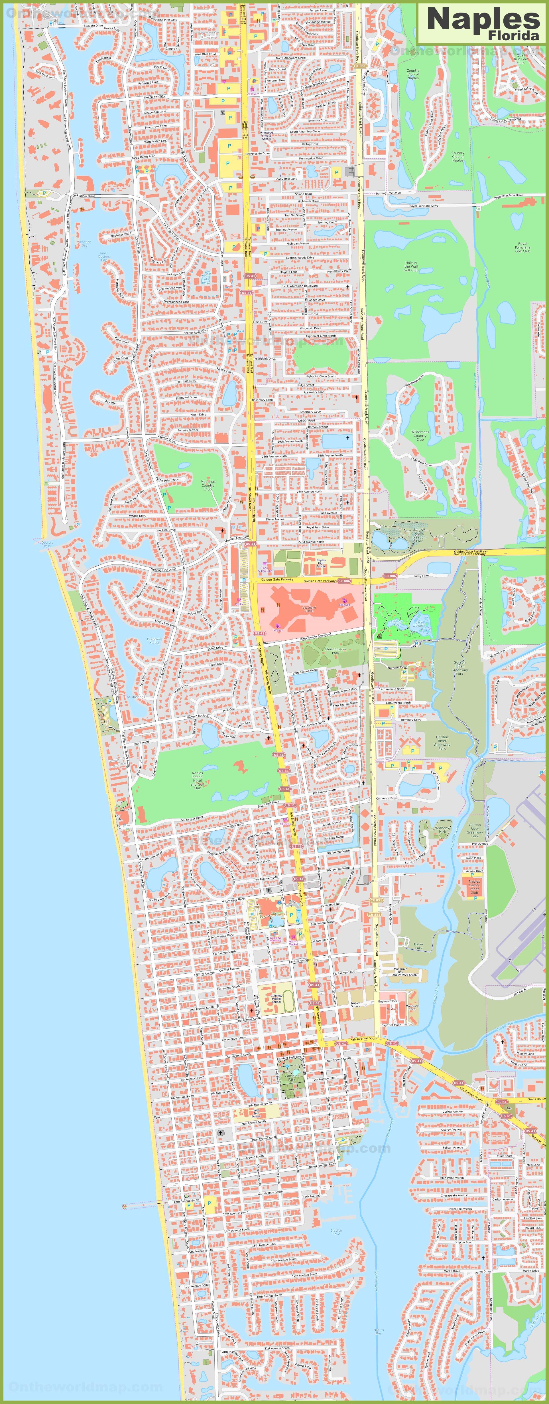 Naples Florida Map.Large Detailed Map Of Naples Florida